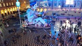People celebrating the carnival in the Massena square, Nice, France stock video