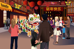 People celebrating Chinese New Year vector illustration