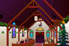 People Celebrating Christmas Eve Inside the Church. A vector illustration of people celebrating Christmas Eve inside the church Stock Image
