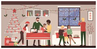 People celebrating Christmas at home. People celebrating Christmas together at home: family connecting with mobile devices and a laptop, homosexual couple with Stock Photography