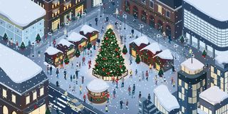 People celebrating Christmas together. Happy people gathering together and celebrating Christmas in the city square around a tree under the snow Stock Photo