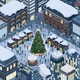 People celebrating Christmas together. Happy people gathering together and celebrating Christmas in the city square around a tree under the snow Royalty Free Stock Photos