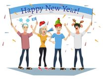 People celebrating. Cool vector flat character design on New Year. Vector illustration stock illustration