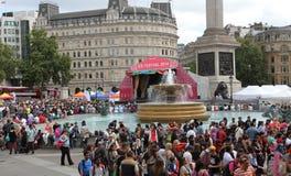 People celebrating the festival of Eid in Trafalgar Square stock images