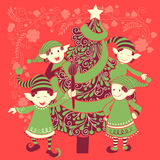 People celebrating festival Merry Christmas holiday background. Vector design of people celebrating festival Merry Christmas holiday background Royalty Free Stock Photo