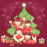 People celebrating festival Merry Christmas holiday background. Vector design of people celebrating festival Merry Christmas holiday background Stock Photo