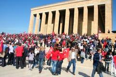 People celebrating the foundation of the Republic of Turkey royalty free stock photo