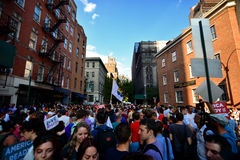 People celebrating gay marriage rights at Stonewall Inn New york Royalty Free Stock Images