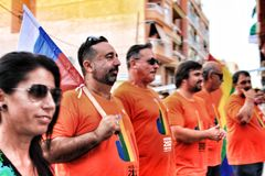 People celebrating Gay Pride in Spain stock photography