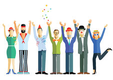 People celebrating. Group of people waving hands in the air in celebration Royalty Free Stock Photo
