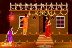 People celebrating Happy Diwali holiday India background Stock Photography