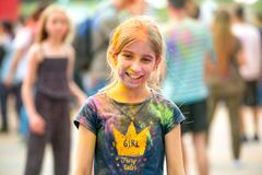 People celebrating Holi color festival in Kharkiv, Ukraine. Stock Image