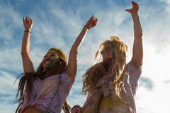 People celebrating Holi Festival of Colors. Royalty Free Stock Photo
