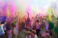People celebrating Holi Festival of Colors. Stock Photo