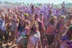 People celebrating Holi Festival of Colors. Stock Photography