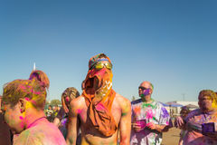 People celebrating Holi Festival of Colors. Royalty Free Stock Photos