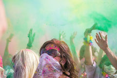 People celebrating Holi Festival of Colors. Royalty Free Stock Image