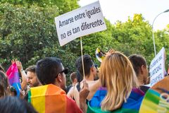 Madrid, Spain - 07 July 2019 - Gay Pride, Orgullo Gay Parade People royalty free stock photos