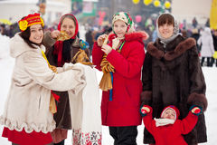 People celebrating  Maslenitsa festival Royalty Free Stock Photo