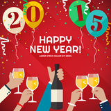 People celebrating in the mountains Happy New Year 2015 Royalty Free Stock Photography