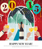 People celebrating in the mountains Happy New Year 2015. Greeting card in flat design style royalty free illustration