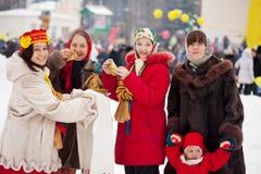 People celebrating  Pancake Week Royalty Free Stock Photos