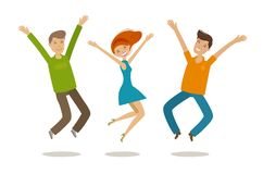 People celebrating. Party, jubilation concept. Cartoon vector illustration in flat style Royalty Free Stock Image