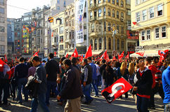 People celebrating the Republic Day of Turkey on the Istiklal street, Istanbul. Royalty Free Stock Photos