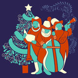 People celebrating and singing carol for festival Merry Christmas holiday background. Vector design of people celebrating and singing carol for festival Merry Stock Images