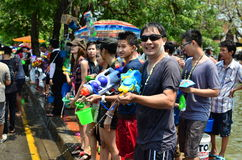 People celebrating Songkran festival Stock Photo