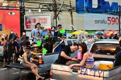 People celebrating Songkran (Thai new year / water festival) Stock Images