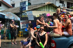 People celebrating Songkran (Thai new year / water festival) in the streets Stock Image
