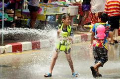 People celebrating Songkran or water festival Stock Photography