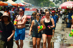People celebrating Songkran or water festival Stock Image