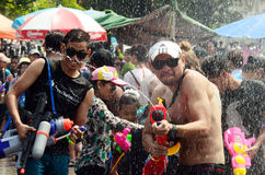 People celebrating Songkran or water festival Stock Photo