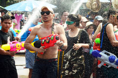 People celebrating Songkran or water festival Stock Photos