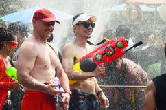 People celebrating Songkran or water festival Royalty Free Stock Images