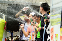 People celebrating Songkran water festival Royalty Free Stock Images
