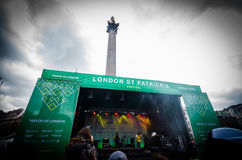 People celebrating St. Patrick day in Trafalgar Square in London Stock Photography