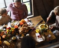 People are celebrating Thanksgiving day stock image