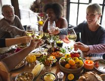 People are celebrating Thanksgiving day royalty free stock images