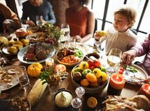 People are celebrating Thanksgiving day royalty free stock photo