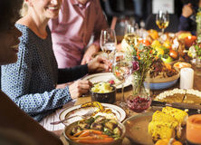 People Celebrating Thanksgiving Holiday Tradition Concept.  stock image