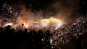 People celebrating a traditional festival of fire Stock Photography