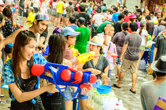 People celebrating the traditional Songkran Day. Royalty Free Stock Photo