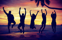 People Celebration Beach Party Summer Vacation Concept Stock Photos