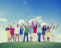 People Celebration Multiethnic Group Happiness Success Concept Stock Image