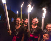 People during the celebration before Nyepi - Balinese Day of Silence. Stock Photography