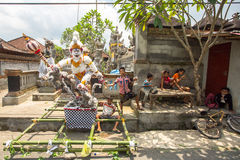 People during the celebration before Nyepi - Balinese Day of Silence. Royalty Free Stock Photos