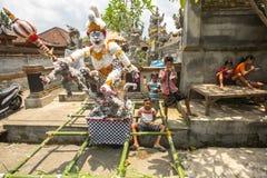 People during the celebration before Nyepi - Balinese Day of Silence Royalty Free Stock Image